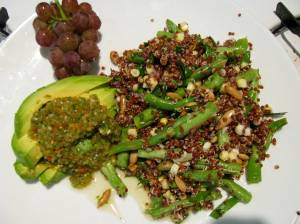 Red Quinoa salad with tomatillo salsa and grapes