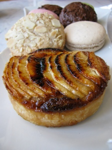 Apple tart, cookies and macaroons