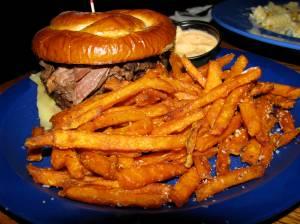 Pot roast sandwich and sweet potato fries