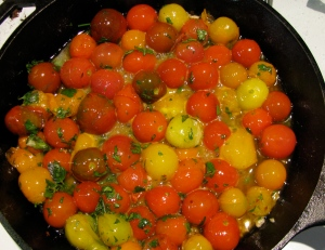 Cherry tomatoes cooking