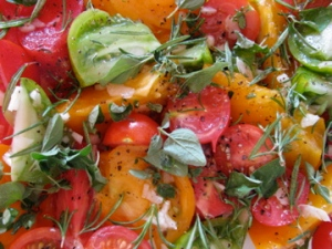 Tomatoes with rosemary, oregano, garlic and olive oil
