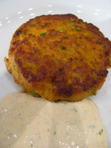 Grilled crawfish cakes with remoulade