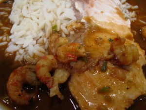 Crawfish étouffée with salmon