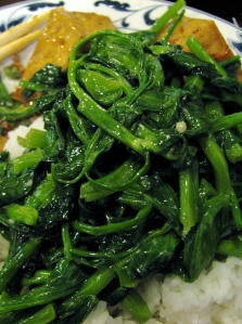 stir fried pea leeks aka pea shoots