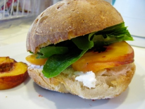 Peach Chevre and arugula sandwich