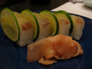 Sushi fragrant with shiso and lime.